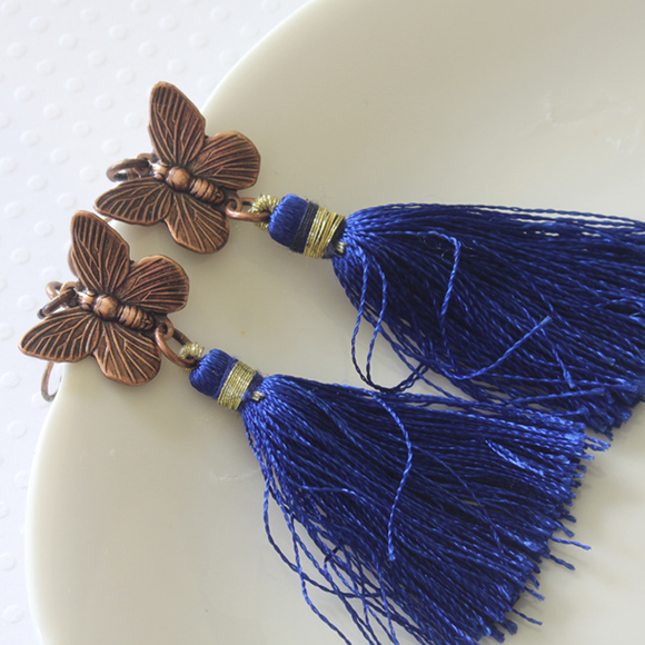 Antique Copper Butterfly and Tassel Earrings