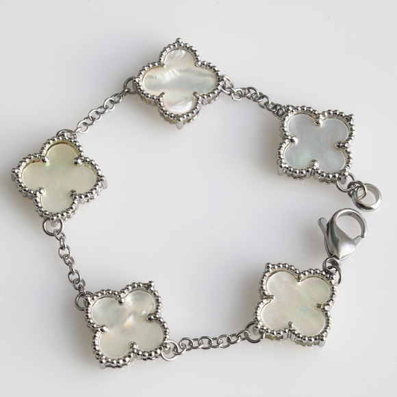 Five Motif Mother of Pearl Shamrock Bracelet