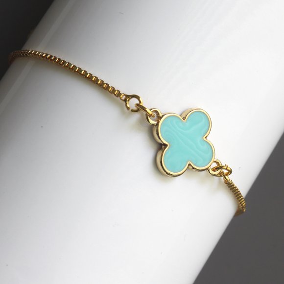 Enamel Shamrock Adjustable Bracelet