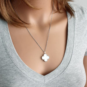 Mother of Pearl Shamrock Pendant with Stainless Steel Chain