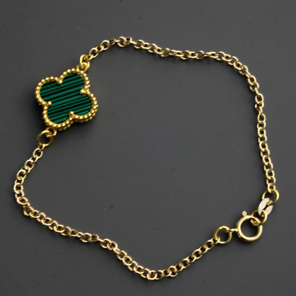 Malachite Pattern Single Shamrock Bracelet