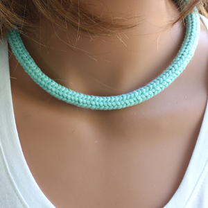 Knitted Aqua Green Cord Summer Necklace