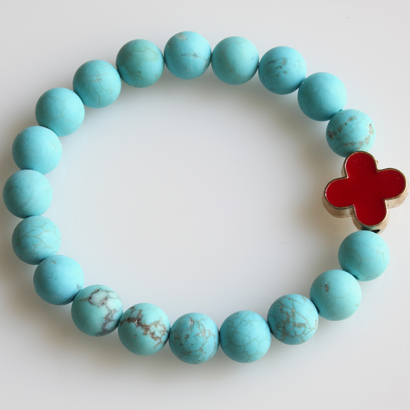 Turquoise Beaded Shamrock Connector Stretch Bracelet