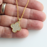 Micro Pave Shamrock Pendant Necklace