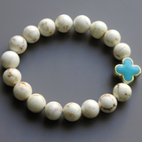 White Turquoise Shamrock Connector Stretch Bracelet