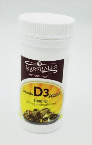 Load image into Gallery viewer, Marshalls Vitamin D3max Softgel Capsules- 1000iu (30s)