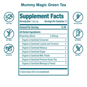 Mummy Magic Weight Loss Green Tea (with Moringa)- 40 Servings- USDA