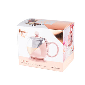 Shelby™ Glass and Rose Gold Teapot by Pinky Up