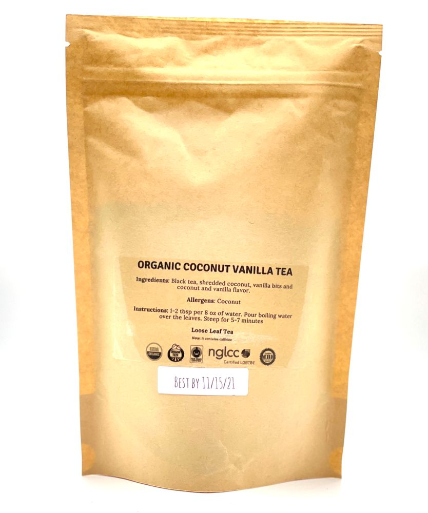 Kikos Organic Black Coconut Vanilla Tea 5 Oz