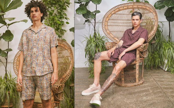Mens Coord Shirt And Short 2 Piece. Sustainable Fashion. Vintage