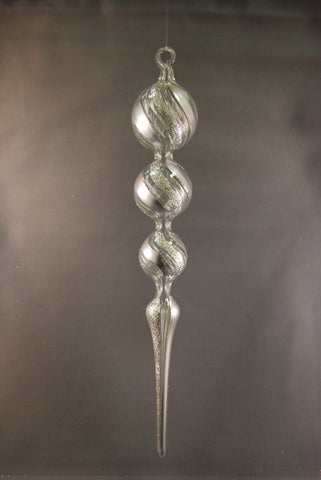 Arctic Silver Spire Glass Ornament