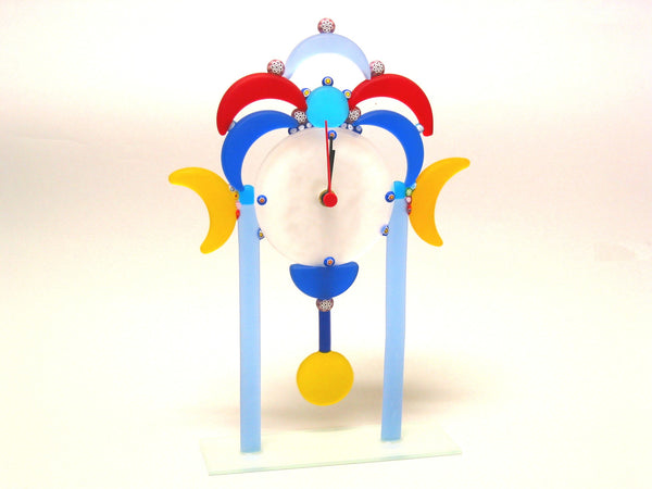 Colorful Murano Glass Desk Clock with Pendulum