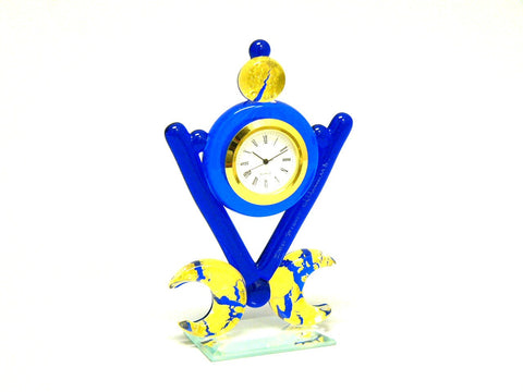 Blue & Gold Murano Glass Desk Clock from Italy