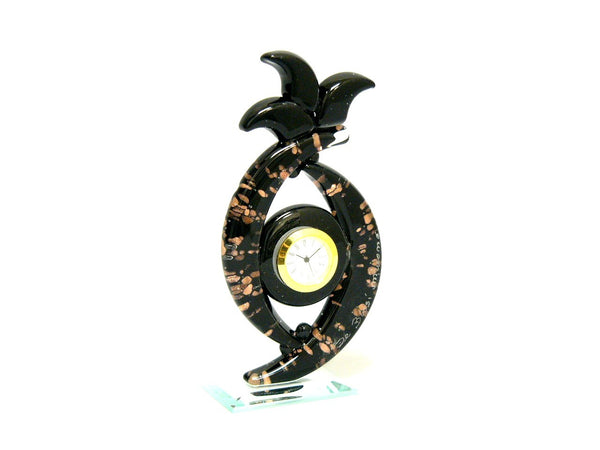 Elegantly Sparkly Small Black Murano Glass Desk Clock