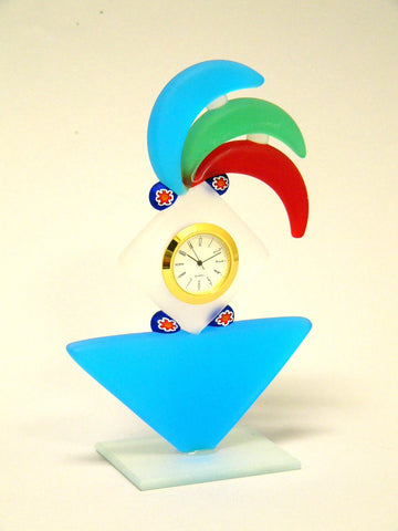 Small Blue Murano Glass Desk Clock