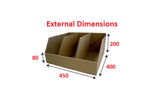 Plumbers Extra Wide and Extra Deep 44.5cm deep Shelf Pick Box  with 3 Compartments from Kebet Packaging in recyclable cardboard