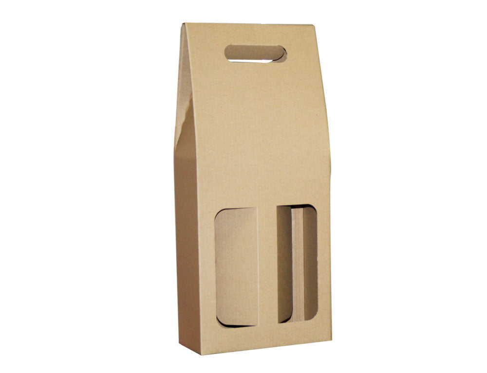 Twin Wine Carry Packs Gable from Kebet Packaging in recyclable cardboard