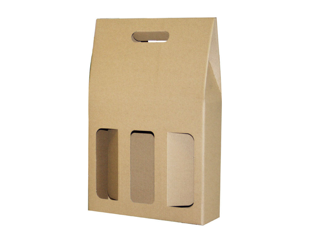 Triple Wine Carry Packs Gable from Kebet Packaging in recyclable cardboard