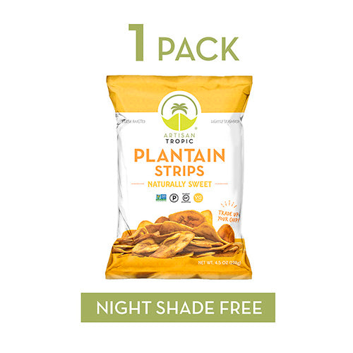 Plantain Chips - Vegan Snacks - Healthy Snacks - Paleo Snacks - Gluten Free Snacks - Whole 30 Approved Foods - Banana Chips - ARTISAN TROPIC Plantain Strips - Naturally Sweet - 4.5 Oz Single Pack