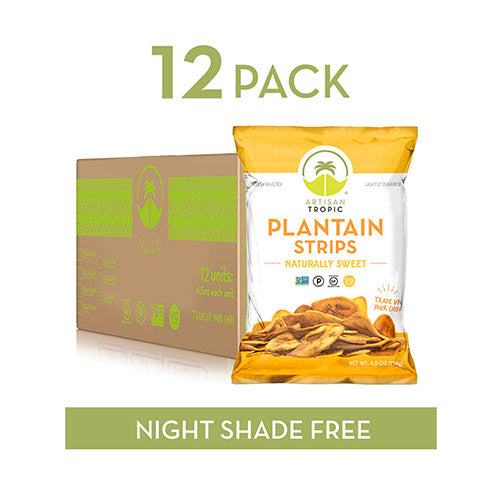 Plantain Chips - Vegan Snacks - Healthy Snacks - Paleo Snacks - Gluten Free Snacks - Whole 30 Approved Foods - Banana Chips - ARTISAN TROPIC Plantain Strips - Naturally Sweet - 4.5 Oz - 12 Pack