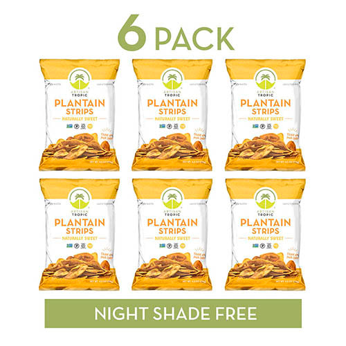 Plantain Chips - Vegan Snacks - Healthy Snacks - Paleo Snacks - Gluten Free Snacks - Whole 30 Approved Foods - Banana Chips - ARTISAN TROPIC Plantain Strips - Naturally Sweet - 4.5 Oz - 6 Pack