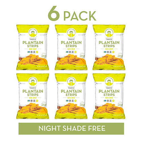 Sea Salt Plantain Chips - Vegan Snacks - Healthy Snacks - Paleo Snacks - Gluten Free Snacks - Whole 30 Approved Foods - Banana Chips - Baked Chips - ARTISAN TROPIC Plantain Strips - 4.5 Oz - 6 Pack
