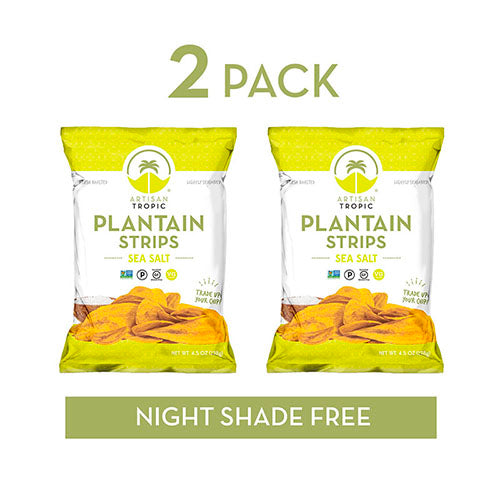 Sea Salt Plantain Chips - Vegan Snacks - Healthy Snacks - Paleo Snacks - Gluten Free Snacks - Whole 30 Approved Foods - Banana Chips - Baked Chips - ARTISAN TROPIC Plantain Strips - 4.5 Oz - 2 Pack