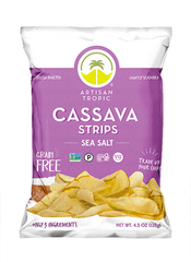 Cassava Strips: Sea Salt 4.5oz - Box containing 12 bags