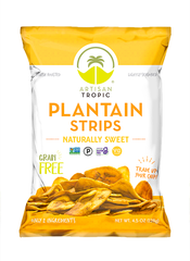 Plantain Strips: Sweet 4.5oz - Box containing 12 bags