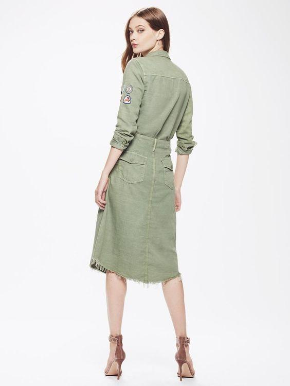 Mother The Misfit Midi Fray Skirt