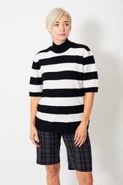 6397 Striped Mock Pullover