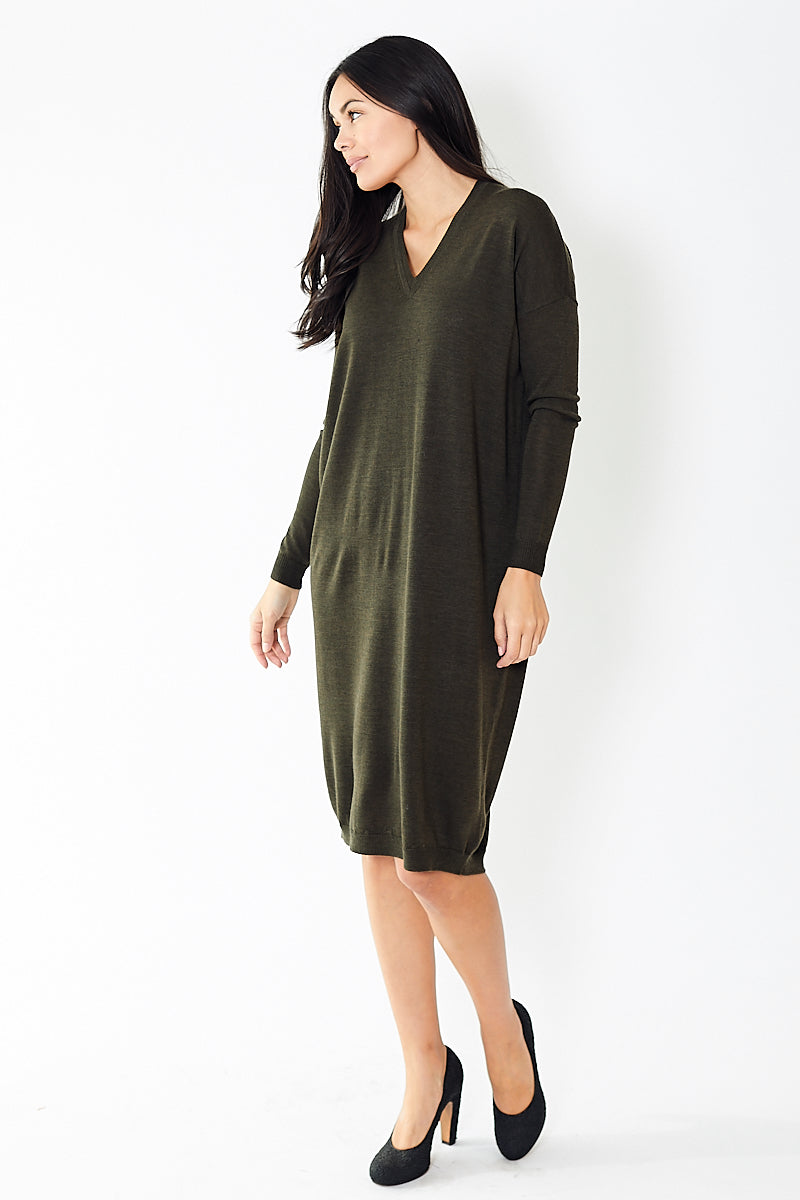 6397 Extra Fine Merino V Neck Dress