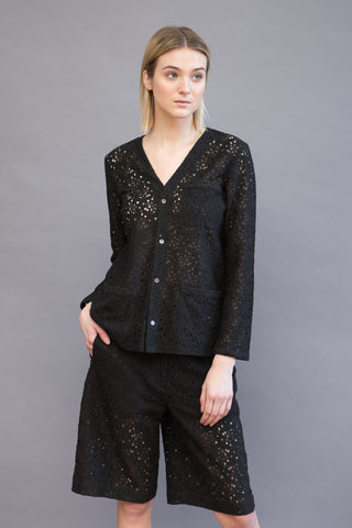 6397 Lace Collarless Blazer