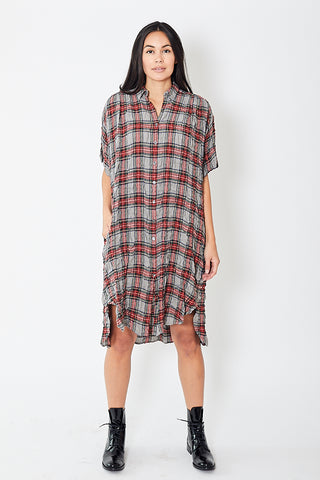 6397 Plaid Gauze Oversized Shirtdress