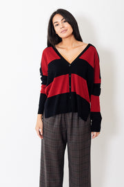 6397 Striped Slit Cardigan