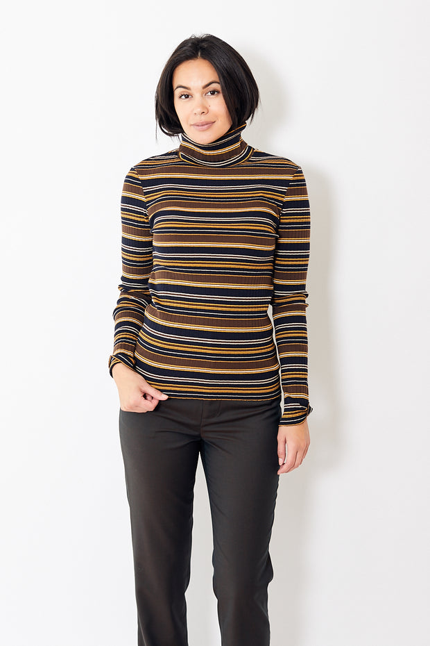 6397 Striped Turtleneck