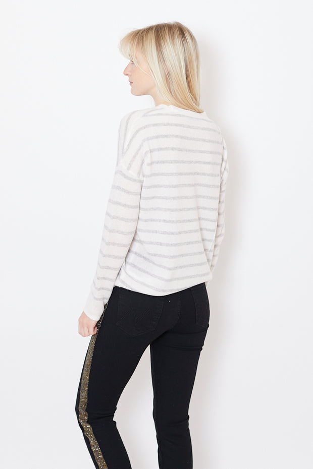 ATM Anthony Thomas Melillo Cashmere Stripe Crewneck Sweater