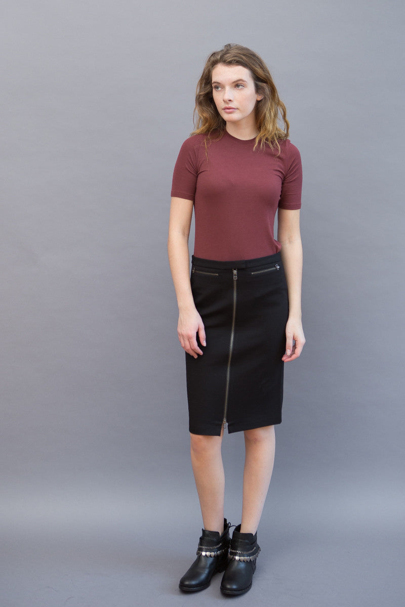ATM Anthony Thomas Melillo Front Zip Pencil Skirt - grethen house