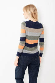 ATM Anthony Thomas Melillo Merino Wool Striped Crew Neck Sweater