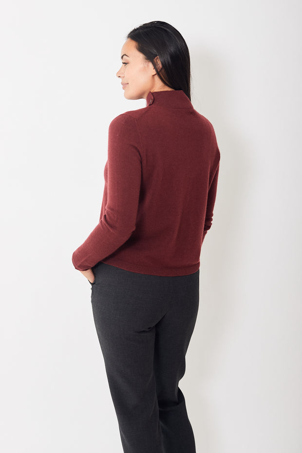 Allude Button Mock Turtleneck Sweater