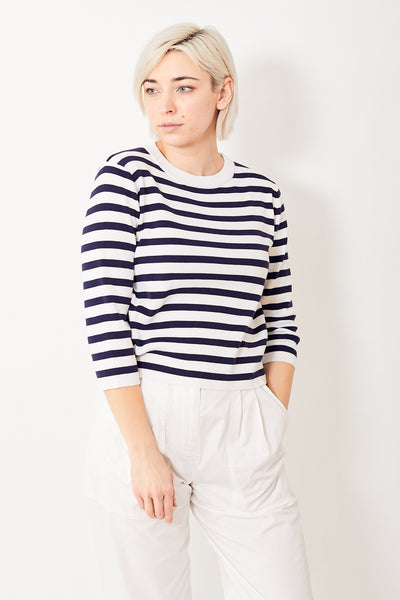 Allude Crop Sleeve Striped Sweater