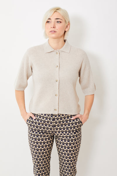 Allude Cropped Sleeve Polo Cardigan