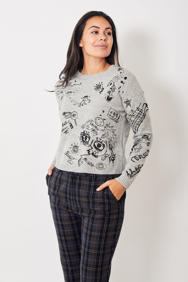 Allude Embroidered Doodle Crewneck Pullover