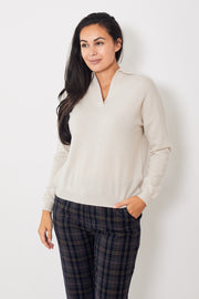 Allude Long Sleeve Polo Sweater