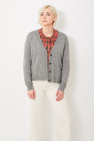 Allude V Neck Cardigan w/ Back Pleat