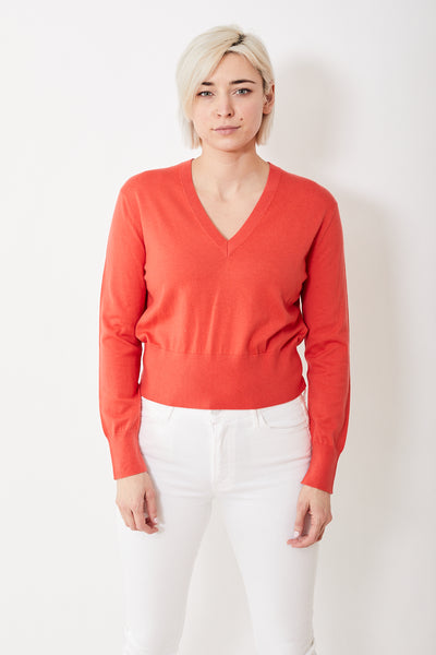 Allude Wide Hem V Neck Sweater
