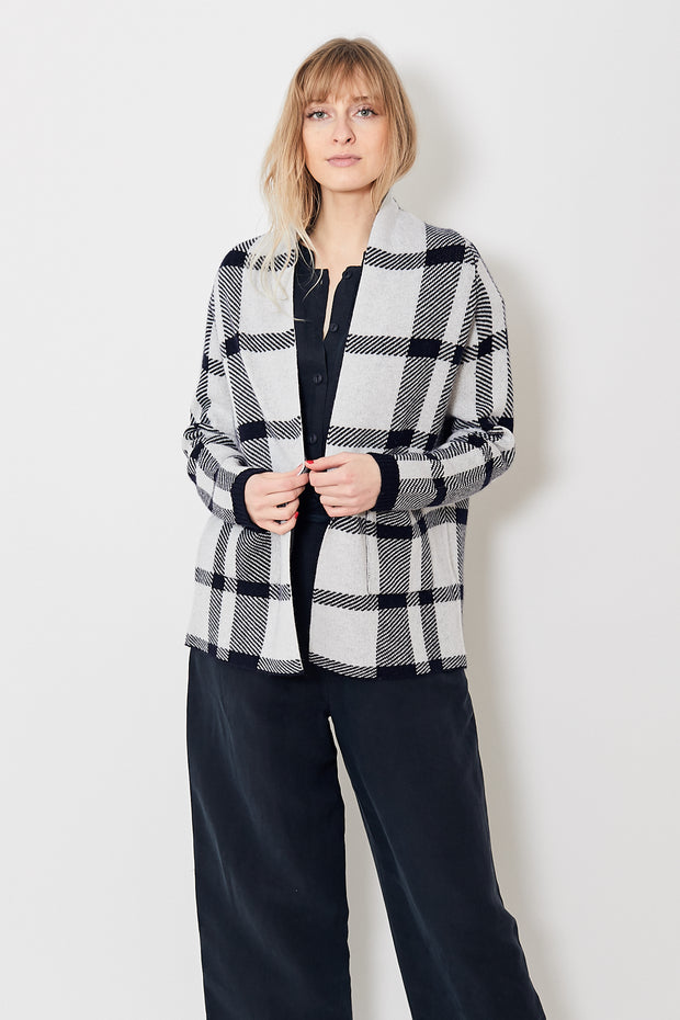 Allude Checked Open Cardigan