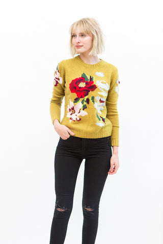 Allude Crew Floral Pullover