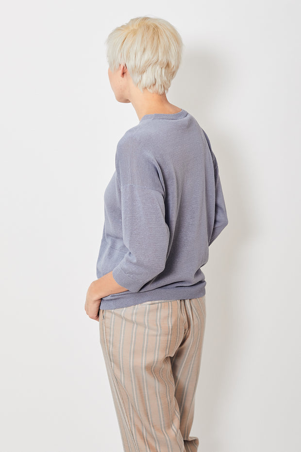Peserico Crop Sleeve Pullover w/ Pockets Periwinkle