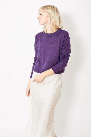 Allude Cropped Crew Neck Pullover